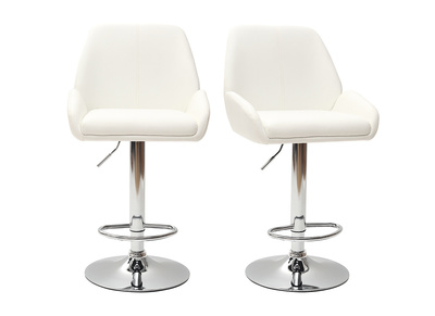 Tabouret de bar design PU blanc lot de 2 ALEK