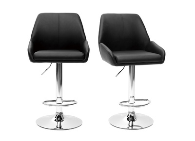 Tabouret de bar design PU noir lot de 2 ALEK