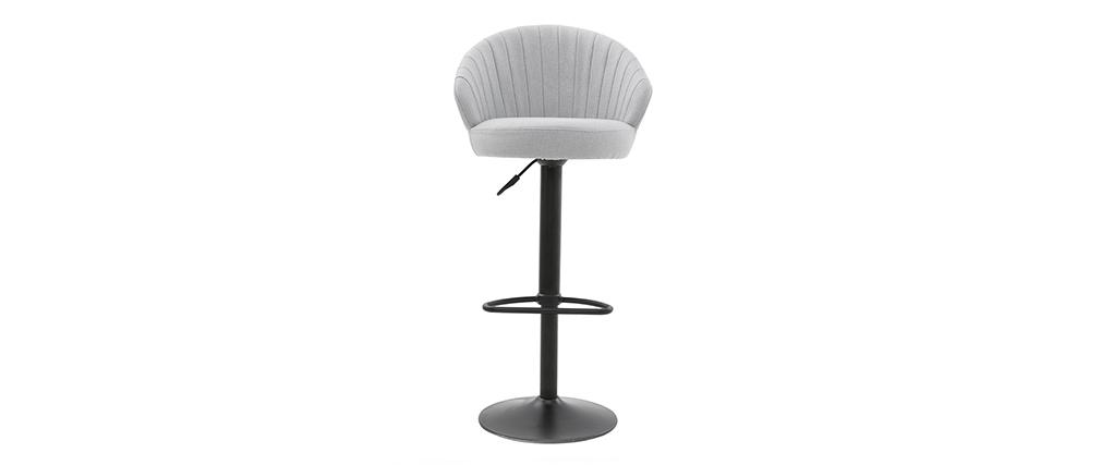 Tabouret de bar design réglable et pivotant en tissu gris IZAAC