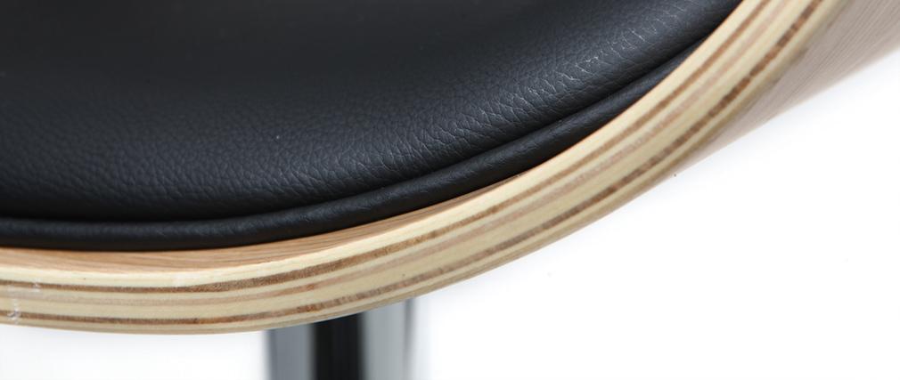Tabouret de bar design réglable noir et bois clair BENT