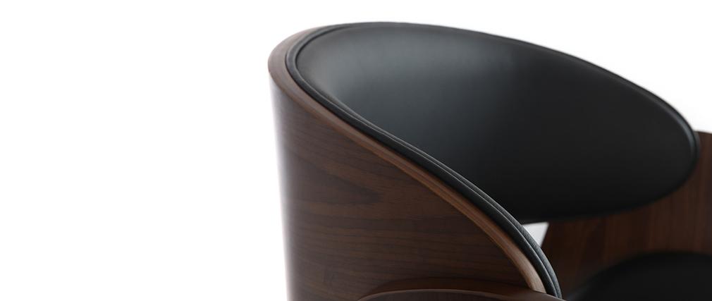 Tabouret de bar design réglable noir et bois foncé BENT