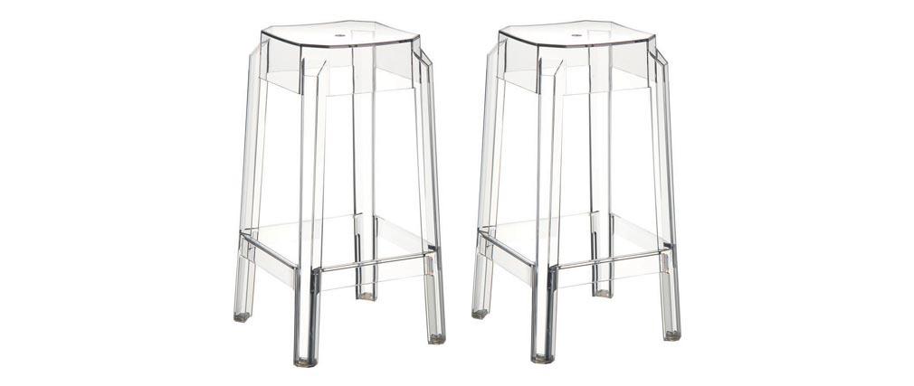 Tabouret de bar design transparent 75cm (lot de 2) CLEAR