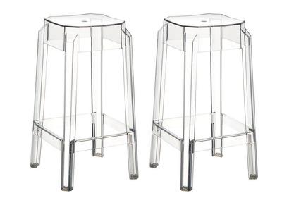 Tabouret de bar design transparent 75cm lot de 2 CLEAR