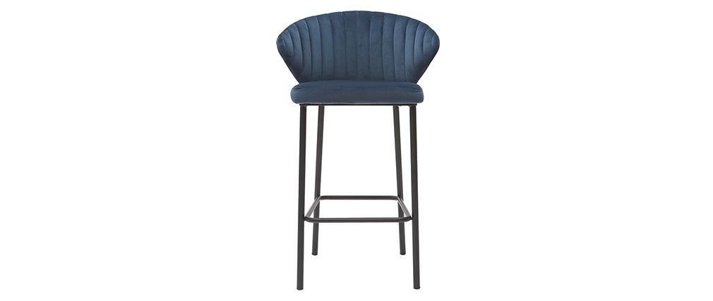 Tabouret de bar design velours bleu foncé 65 cm DALLY