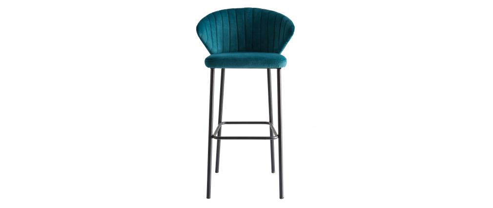 Tabouret de bar design velours bleu pétrole 75cm DALLY