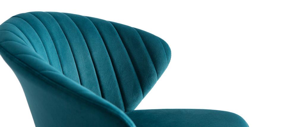 Tabouret de bar design velours bleu pétrole H78 cm DALLY