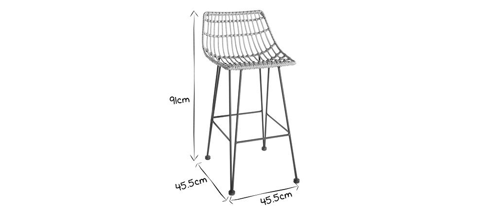 Tabouret de bar en fils de résine façon rotin H69 cm MAJA