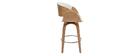 Tabouret de bar pivotant blanc et bois clair 65 cm BENT