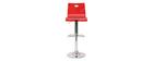 Tabouret de bar plexiglas rouge transparent SATURNE (lot de 2)
