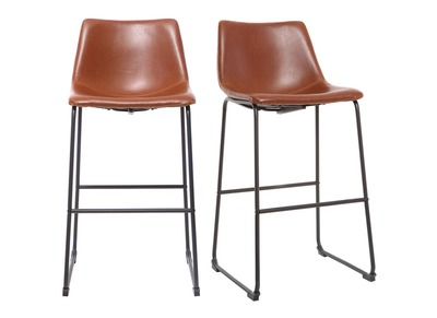 Tabouret de bar vintage PU marron clair 73cm lot de 2 NEW ROCK
