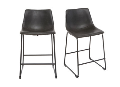 Tabouret de bar vintage PU noir 63cm lot de 2 NEW ROCK