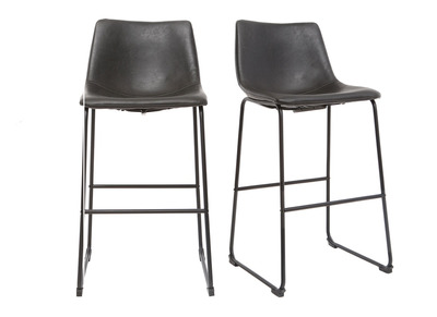Tabouret de bar vintage PU noir  73cm lot de 2 NEW ROCK