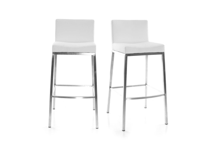 Tabouret design 66cm blanc lot de 2 EPSILON