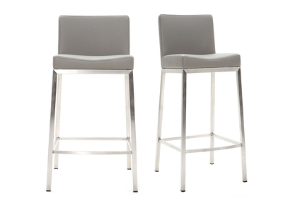 Tabouret design 66cm gris lot de 2 EPSILON