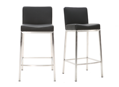 Tabouret design 66cm noir lot de 2 EPSILON