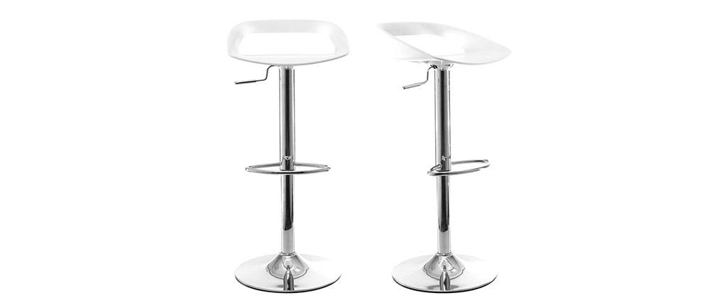 Tabourets de bar design blanc (lot de 2) PHENIX