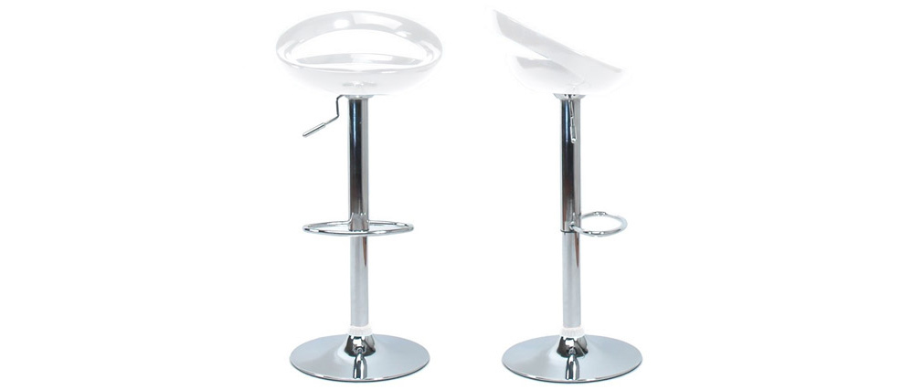 Tabourets de bar design blancs (lot de 2) COMET