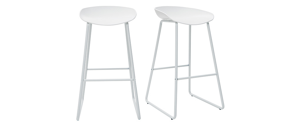 Tabourets de bar design blancs avec pieds en métal (lot de 2) PEBBLE