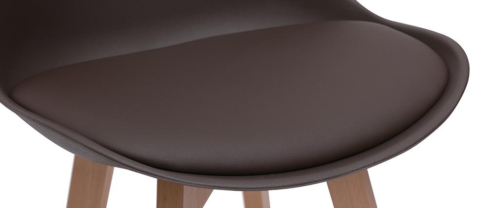 Tabourets de bar design chocolat et bois H65 cm (lot de 2) PAULINE