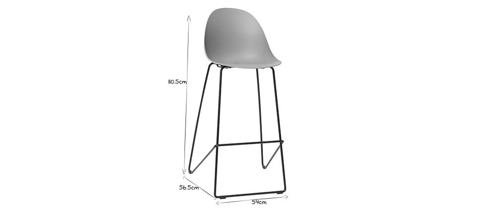 Tabourets de bar design gris 77 cm (lot de 2) CONCHA
