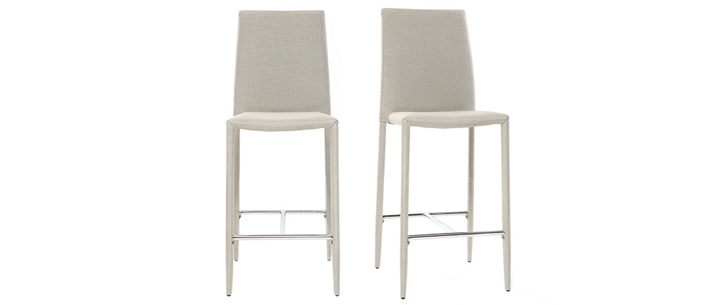 Tabourets de bar design gris clair (lot de 2) TALOS