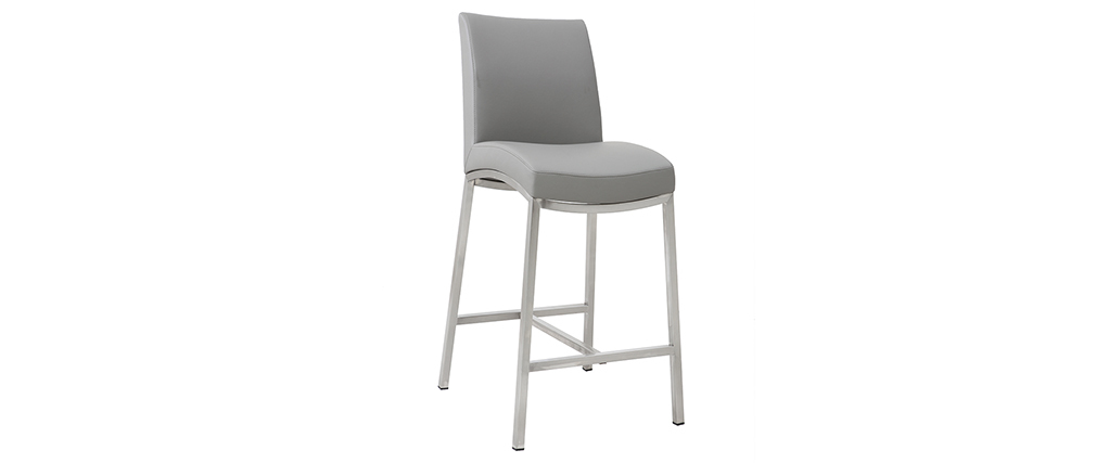 Tabourets de bar design gris clair H70 cm (lot de 2) OLLY
