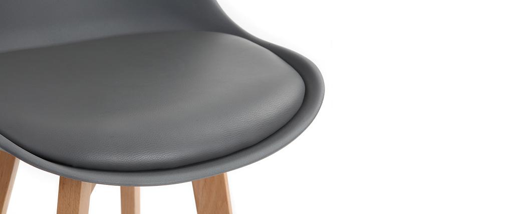 Tabourets de bar design gris et bois H65 cm (lot de 2) PAULINE