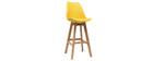 Tabourets de bar design jaune et bois H65 cm (lot de 2) PAULINE
