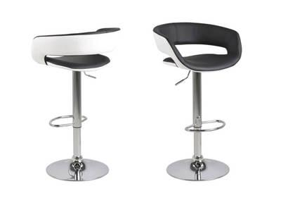 Tabourets de bar design lot de 2 noir et blanc PU GRAVIT V2