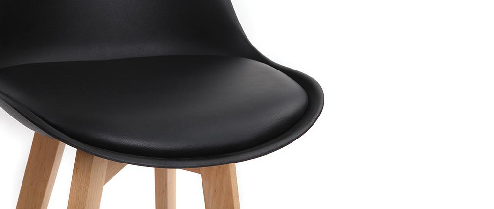 Tabourets de bar design noir et bois 75 cm (lot de 2) PAULINE