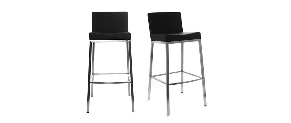 Tabourets de bar design noirs 76 cm EPSILON (lot de 2)