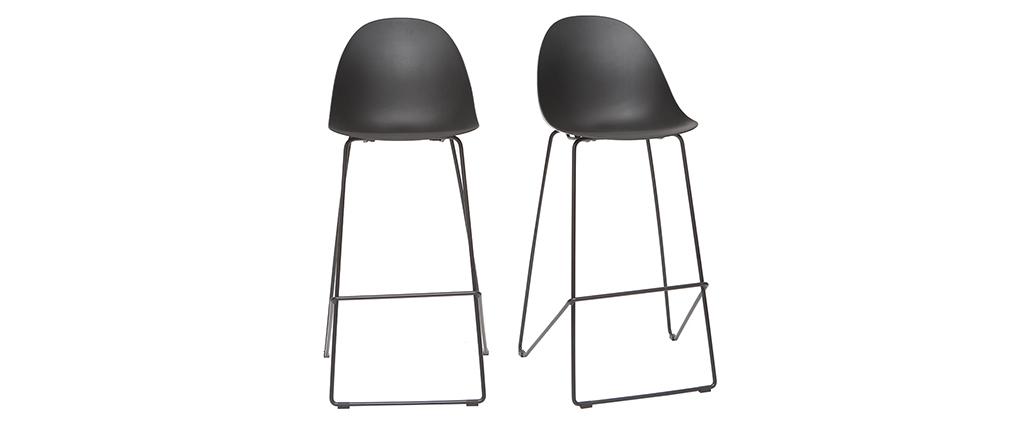 Tabourets de bar design noirs 77 cm (lot de 2) CONCHA