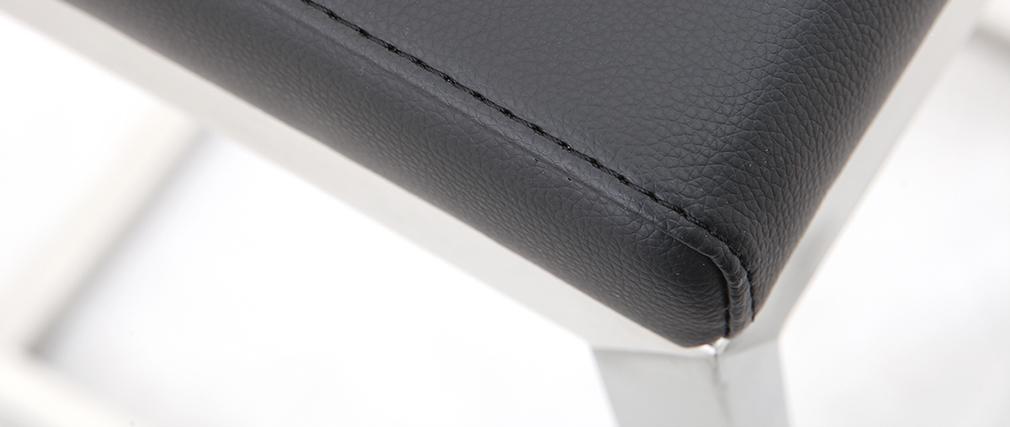Tabourets de bar design noirs avec pieds métal (lot de 2) STELLAR