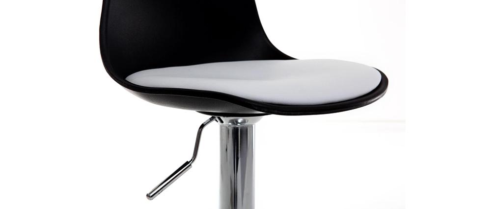 Tabourets de bar design noirs et blancs (lot de 2) STEEVY