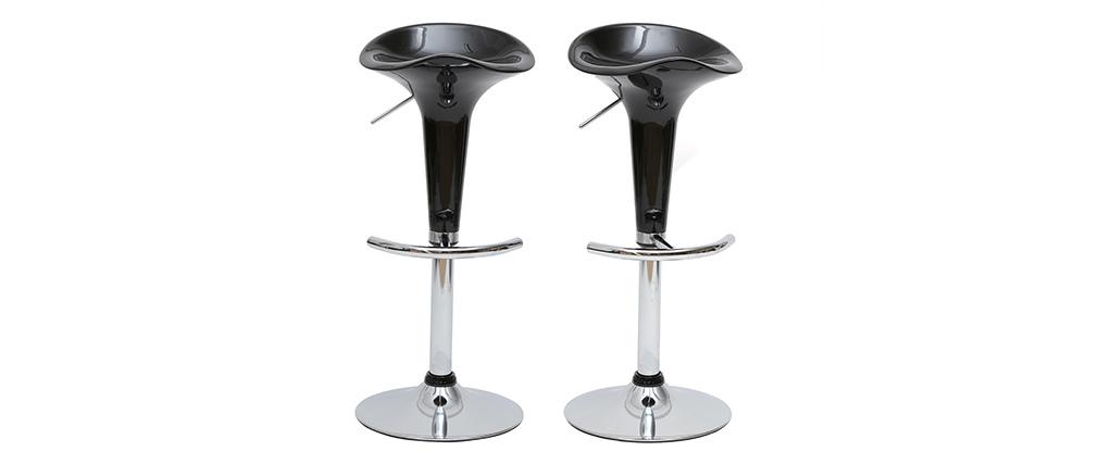 Tabourets de bar design noirs GALAXY (lot de 2)