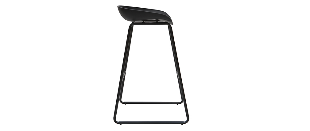 Tabourets de bar design noirs H75 cm (lot de 2) PEBBLE