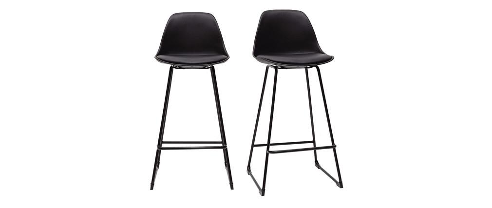 Tabourets de bar design noirs pieds métal 65 cm (lot de 2) FRANZ