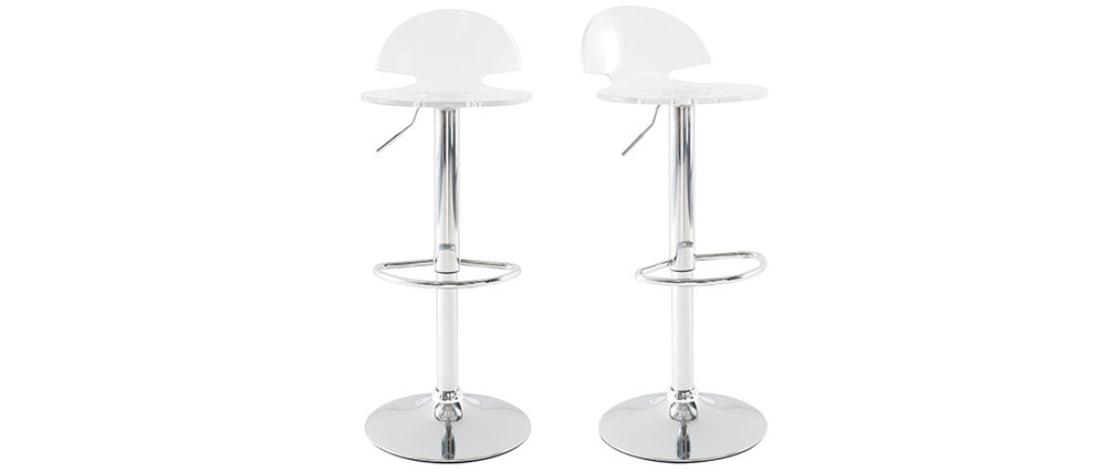 Tabourets de bar design plexiglas transparent (lot de 2) ORION