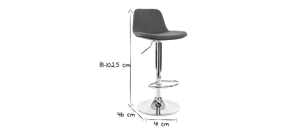 Tabourets de bar design tissu gris foncé (lot de 2) ZACK