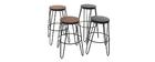 Tabourets de bar en métal noir et en bois noir H65 cm (lot de 2) IGLA
