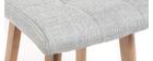 Tabourets de bar en tissu gris clair et bois H65 cm (lot de 2) KLARIS