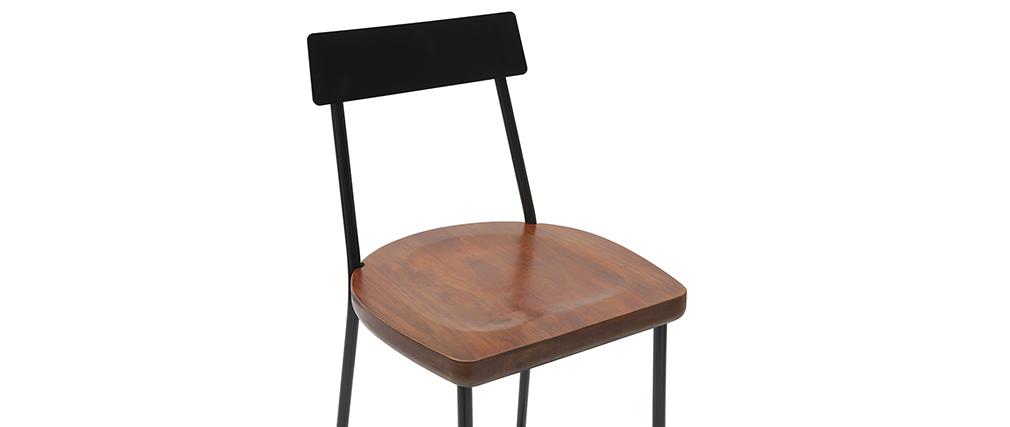 Tabourets de bar industriels métal et bois 75 cm (lot de 2) OUDIN