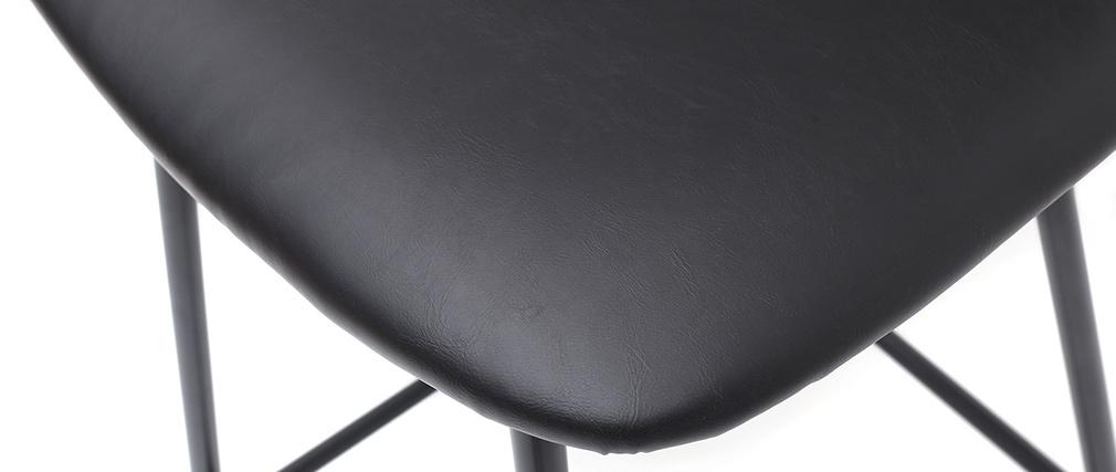 Tabourets de bar vintage noir avec pieds métal 65cm (lot de 2) LAB