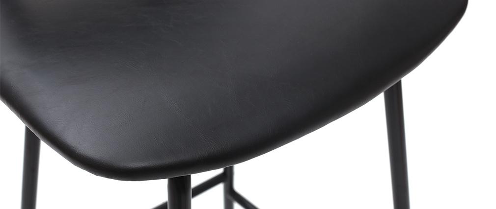 Tabourets de bar vintage noirs avec pieds métal 75 cm (lot de 2) LAB