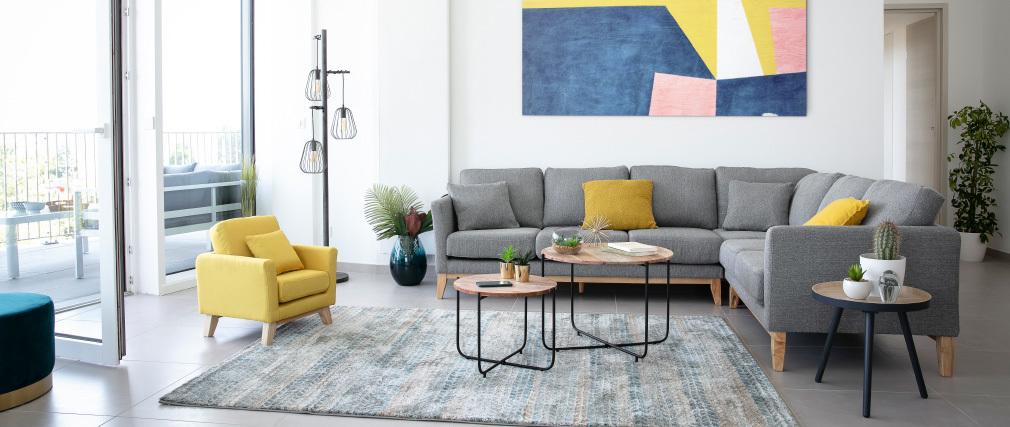 Tapis à motif graphique bleu, marron et gris 160 x 230 cm EPIS