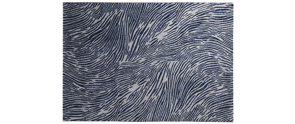 Tapis bleu et gris à motifs 160 x 230 cm SEA