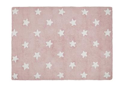 Tapis enfant coton 120x160cm rose et blanc STELLA