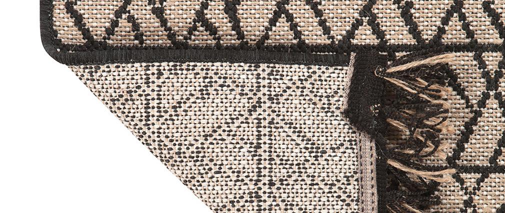 Tapis moderne naturel avec motif graphique noir 160 x 230 cm ETNICA