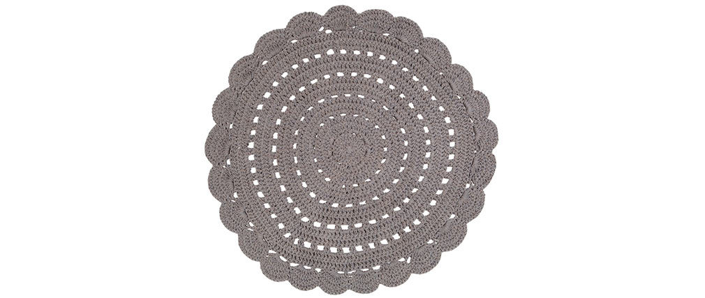 Miliboo Foncé 120 En Tapis Cm Gris Alma Crochet Rond eWEY2IDH9