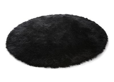 Tapis shaggy rond noir 150 cm UGO